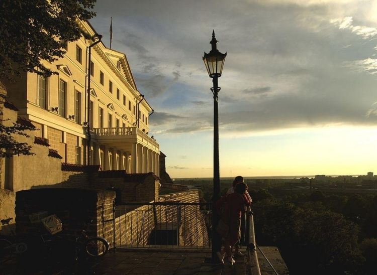 Autumn sunrise scene from Patkuli viewing point situated in one of the most ancient parts of Tallinn