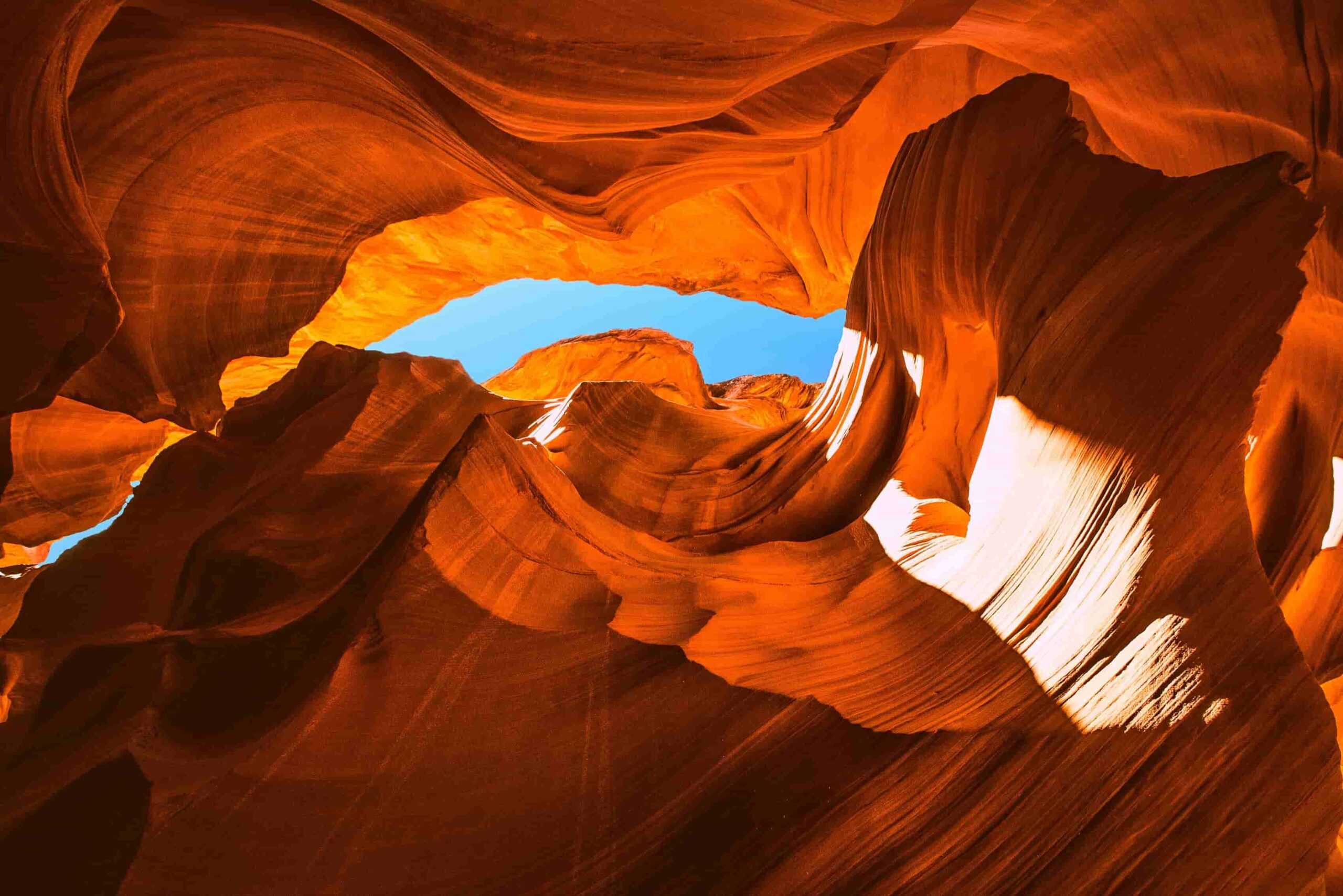 Enchanting colours of orange and red hues. All the warm colours of nature at Lower Antelope Canyon, Arizona