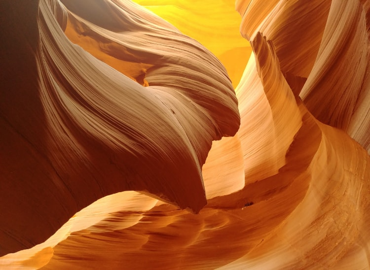 A visit to the Lower Antelope Canyon in Arizona with its stunning hues of yellow colour