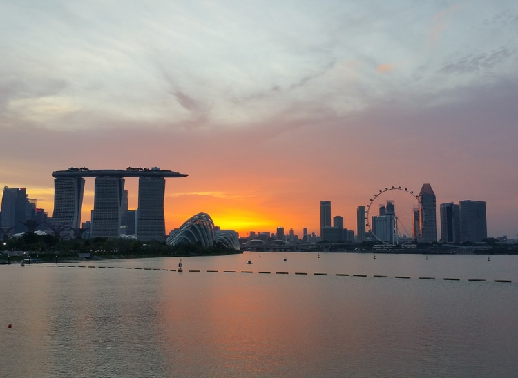 Beautiful sunrise at heart of Marina Bay Sands during our morning walk on the other side